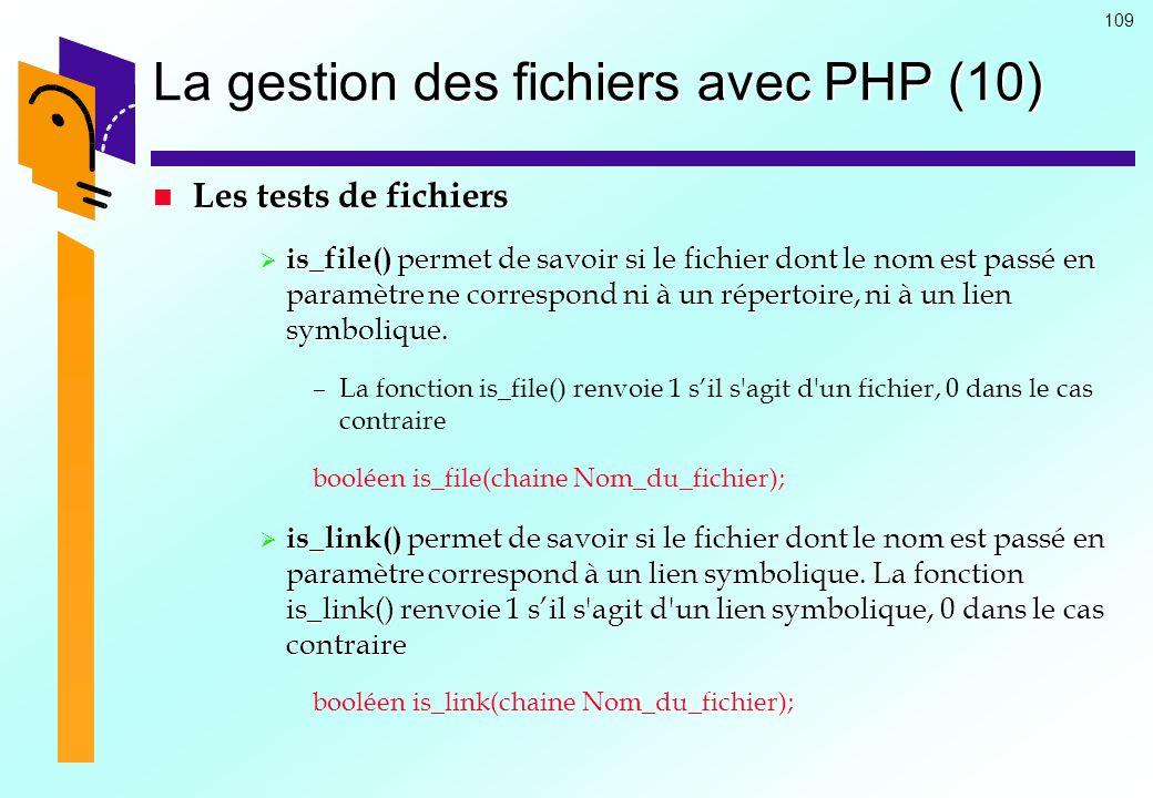 La gestion des fichiers avec PHP (10)
