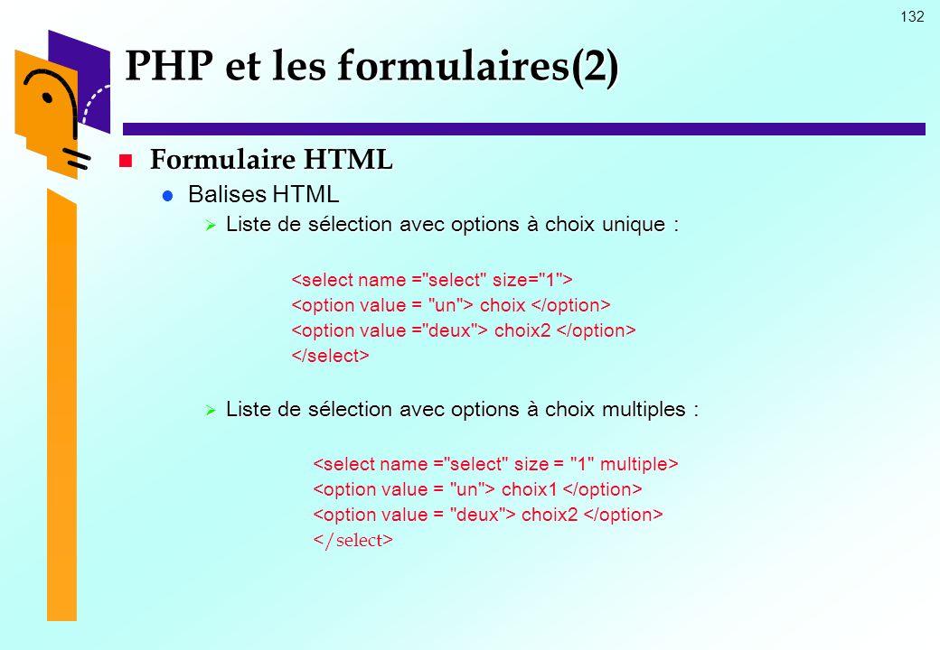PHP et les formulaires(2)