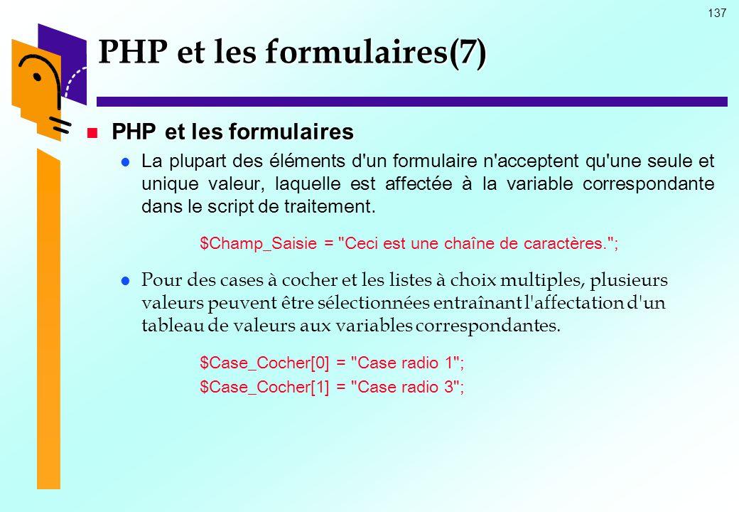 PHP et les formulaires(7)
