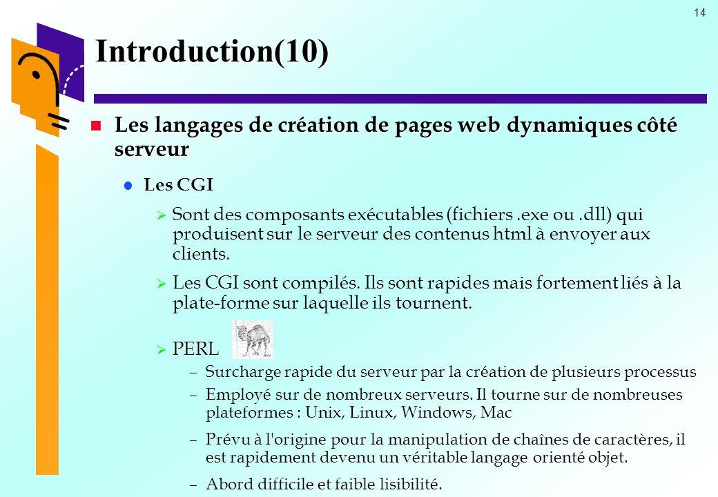 Introduction(10) Les langages de création de pages web dynamiques côté serveur. Les CGI.