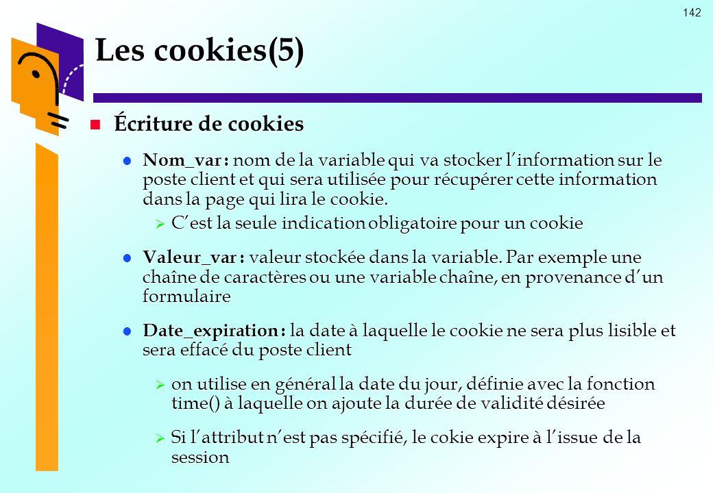 Les cookies(5) Écriture de cookies