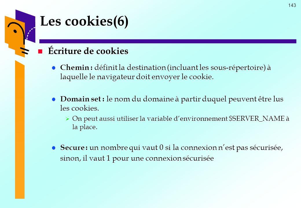 Les cookies(6) Écriture de cookies