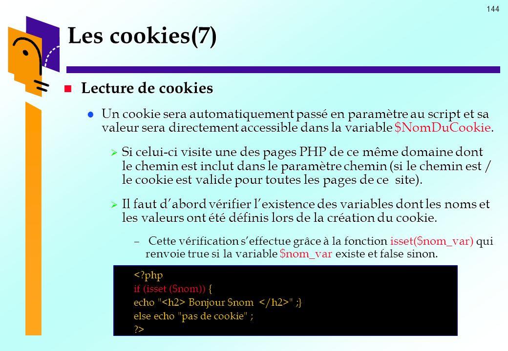 Les cookies(7) Lecture de cookies