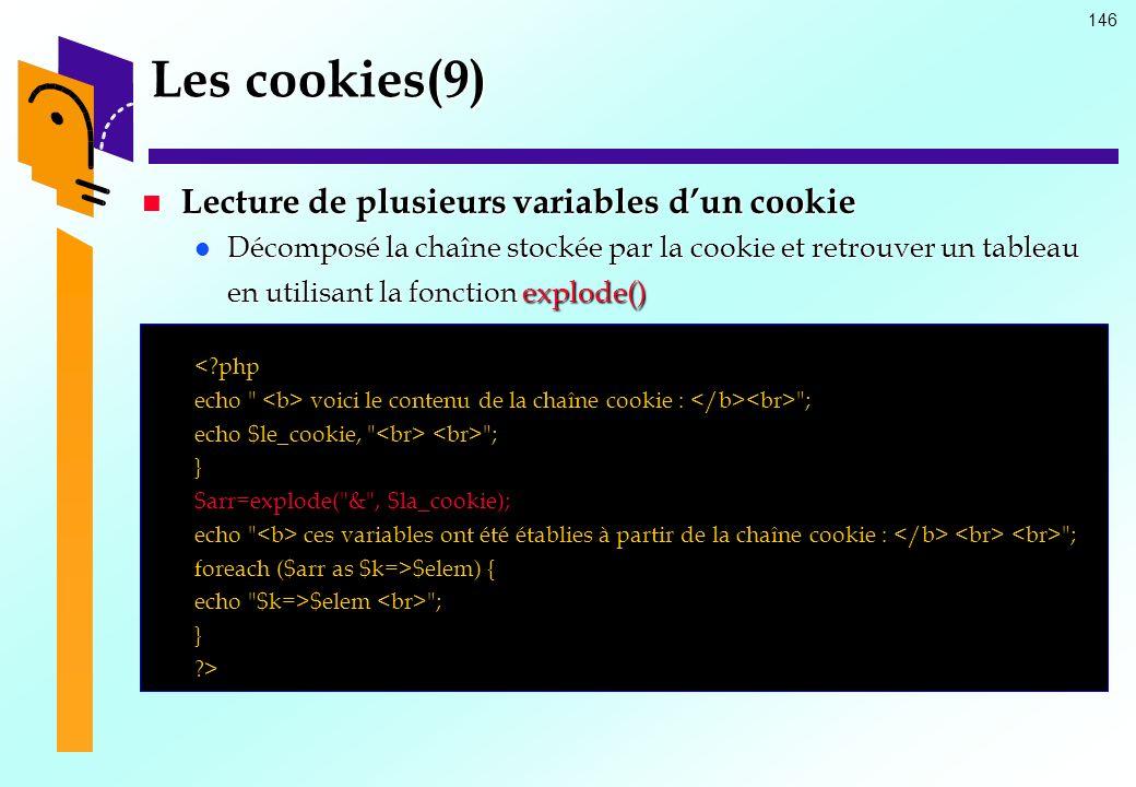 Les cookies(9) Lecture de plusieurs variables d'un cookie