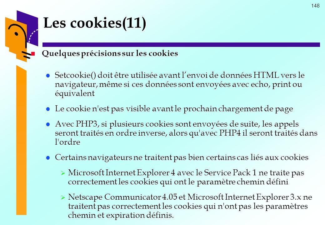 Les cookies(11) Quelques précisions sur les cookies