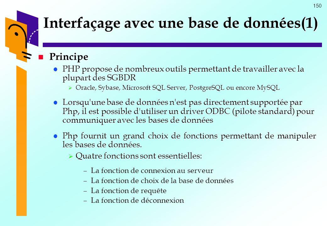 Interfaçage avec une base de données(1)