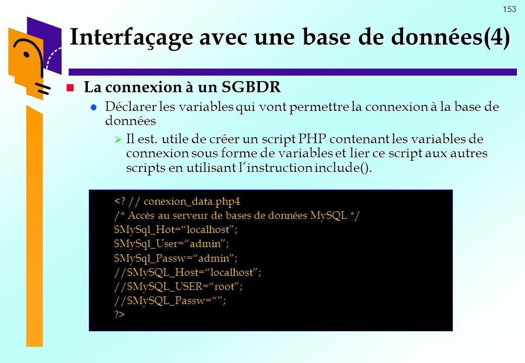 Interfaçage avec une base de données(4)