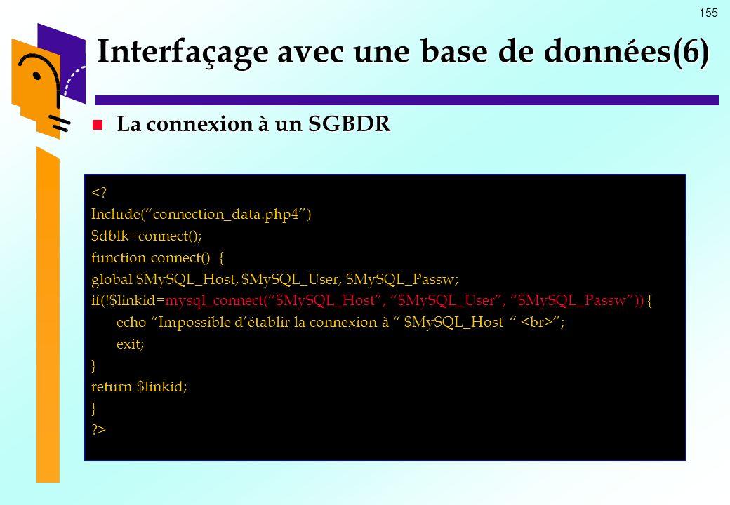 Interfaçage avec une base de données(6)