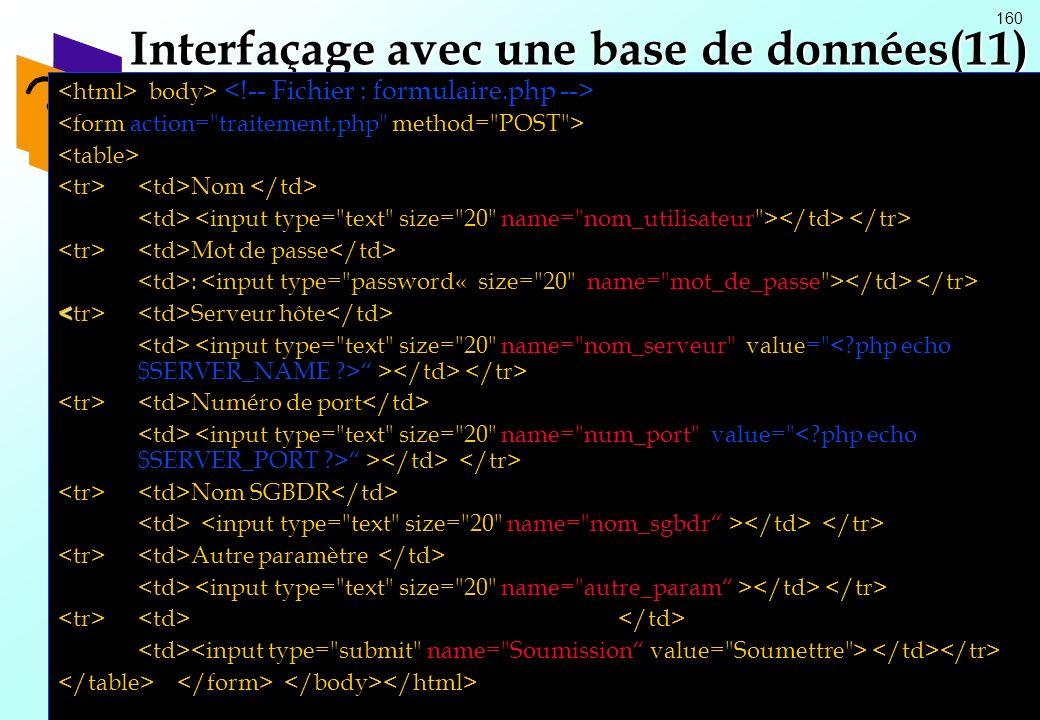 Interfaçage avec une base de données(11)