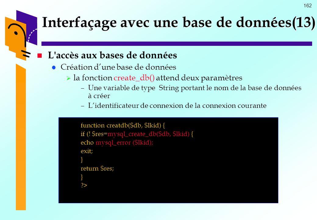 Interfaçage avec une base de données(13)