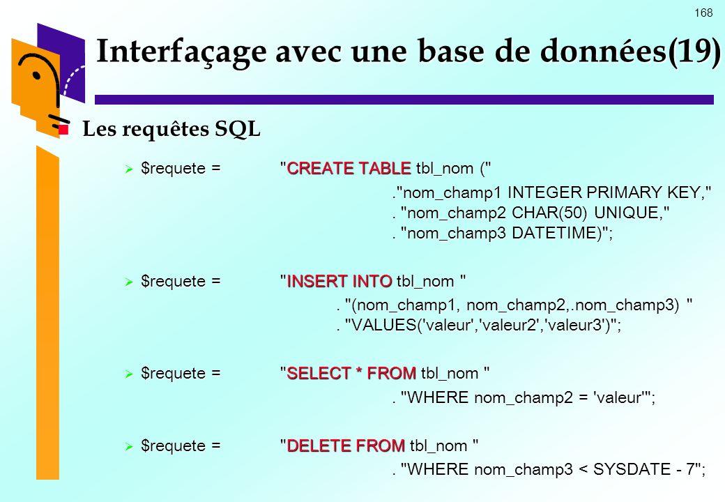 Interfaçage avec une base de données(19)