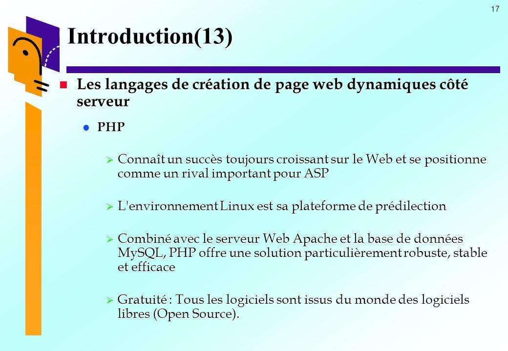 Introduction(13) Les langages de création de page web dynamiques côté serveur. PHP.