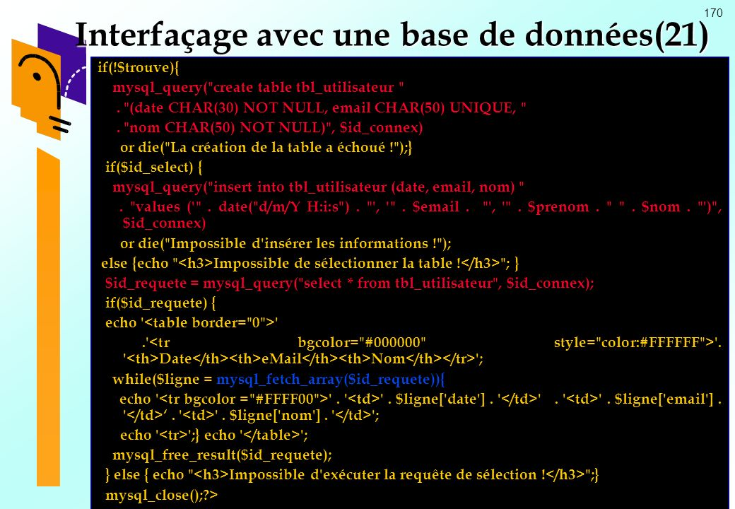 Interfaçage avec une base de données(21)
