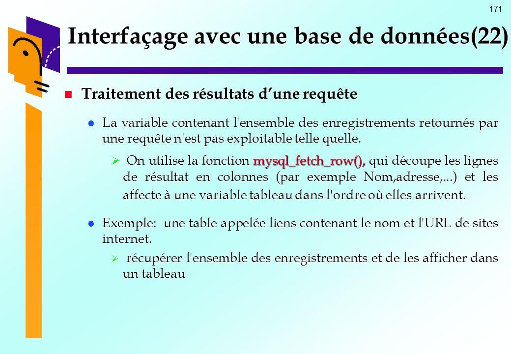 Interfaçage avec une base de données(22)