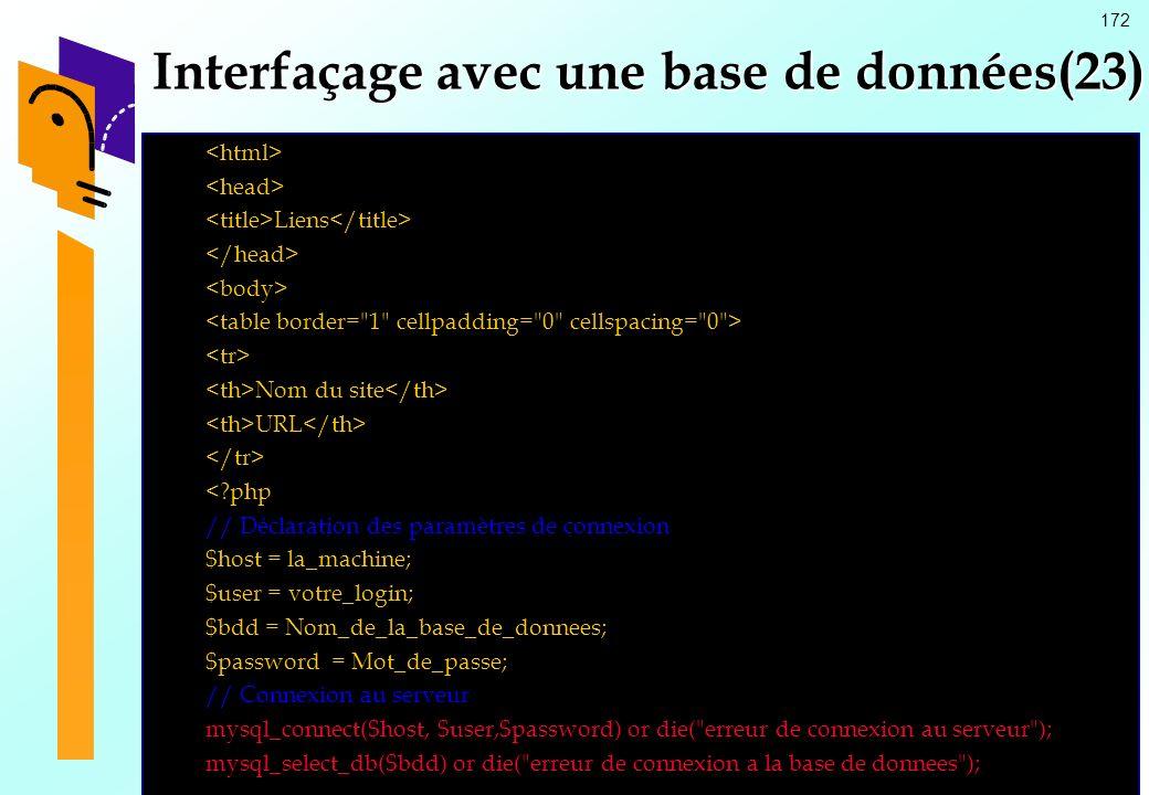 Interfaçage avec une base de données(23)