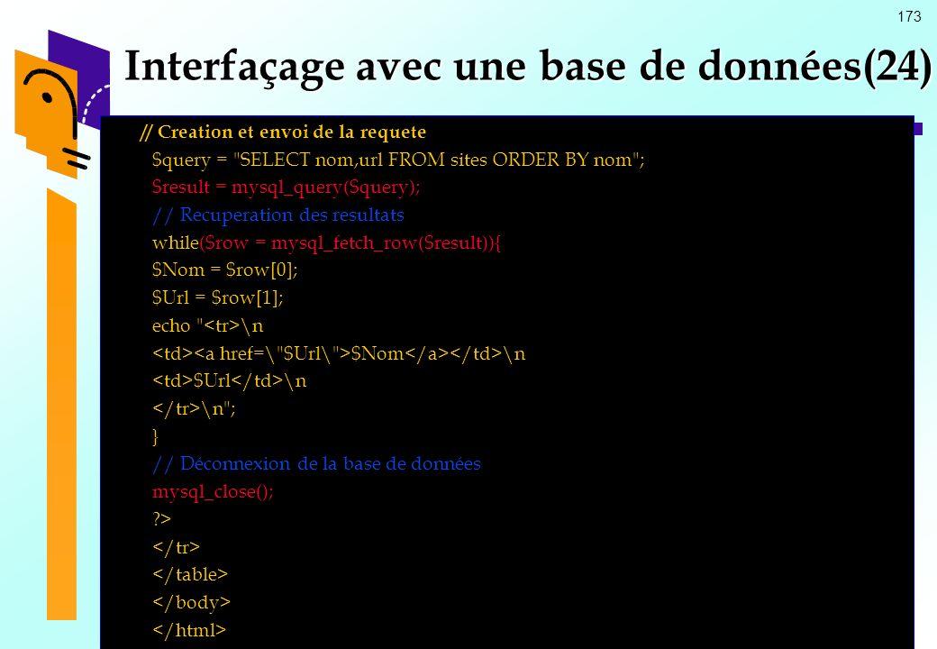 Interfaçage avec une base de données(24)