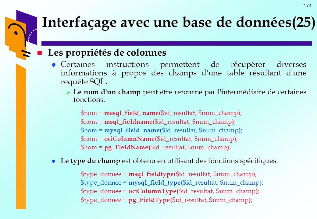 Interfaçage avec une base de données(25)
