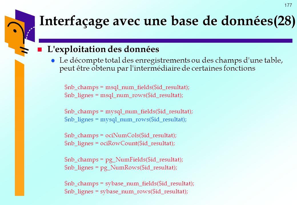 Interfaçage avec une base de données(28)