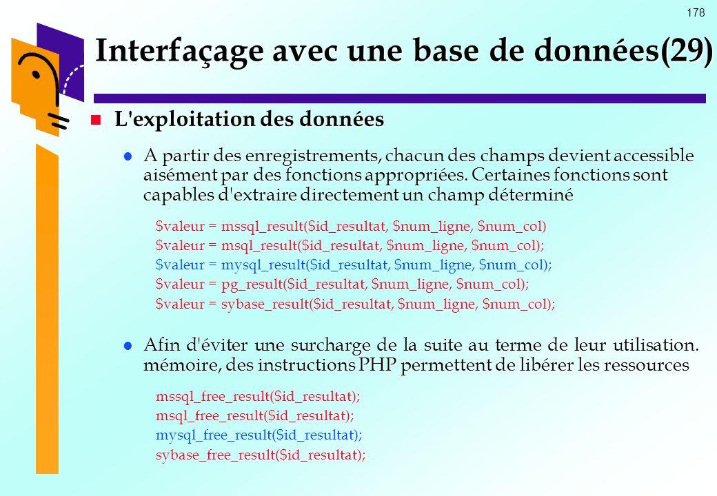 Interfaçage avec une base de données(29)