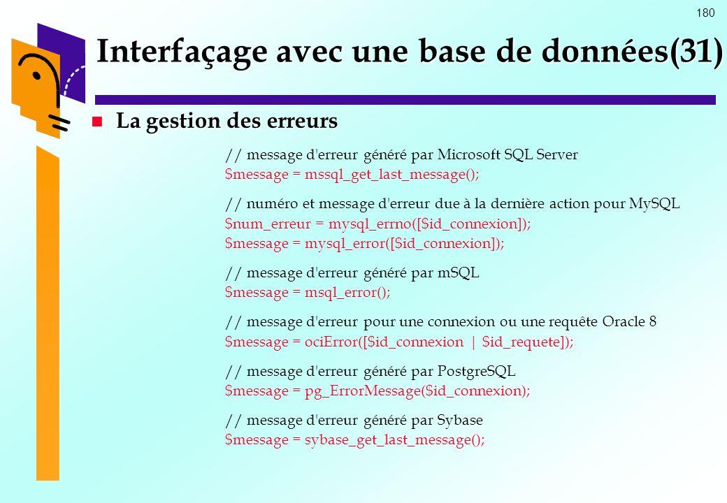 Interfaçage avec une base de données(31)