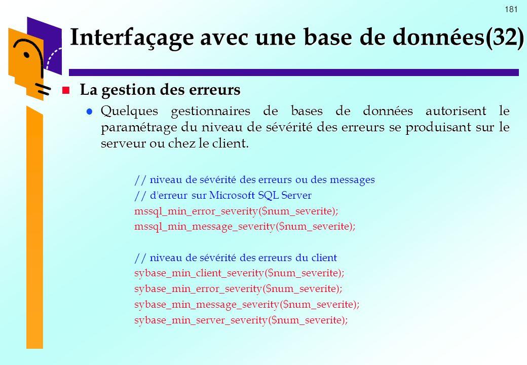 Interfaçage avec une base de données(32)