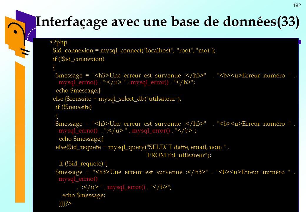 Interfaçage avec une base de données(33)