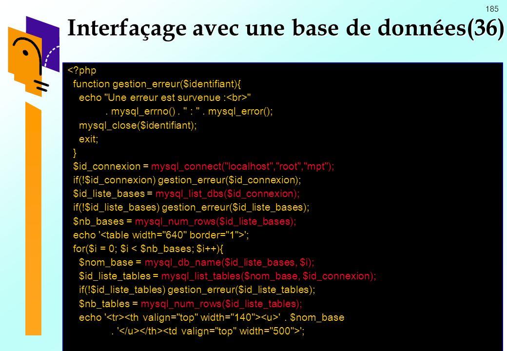 Interfaçage avec une base de données(36)
