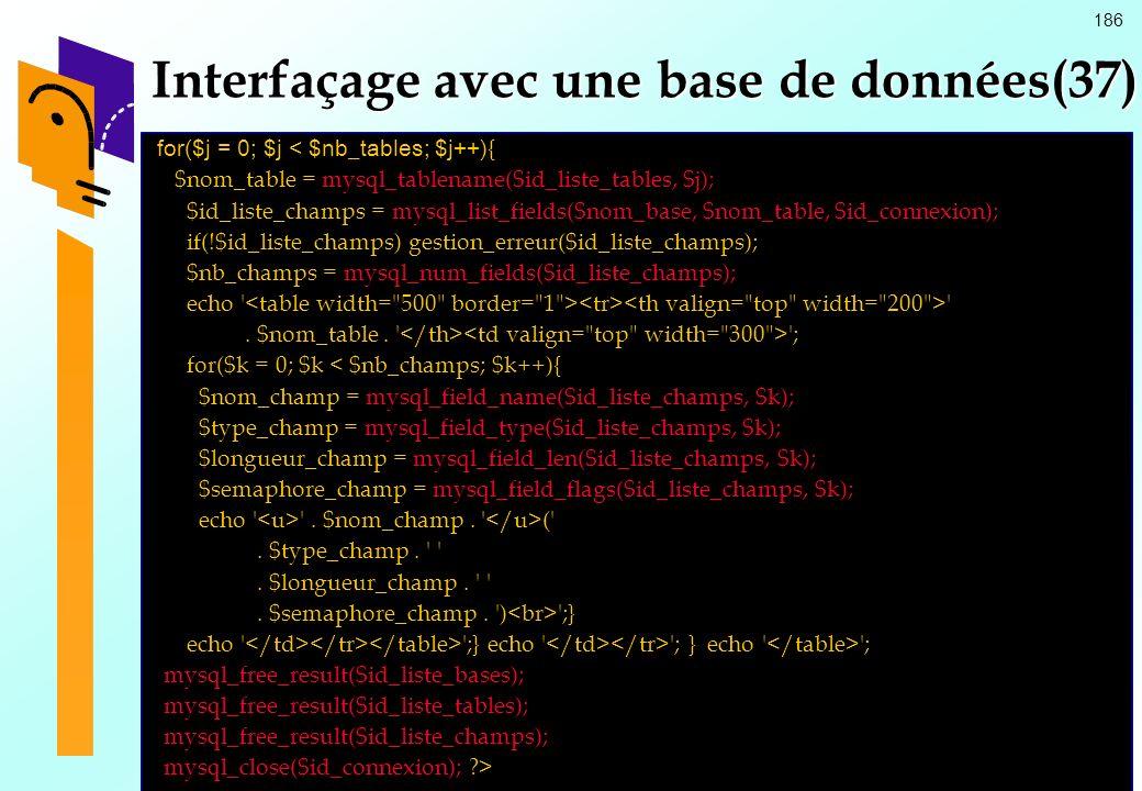 Interfaçage avec une base de données(37)