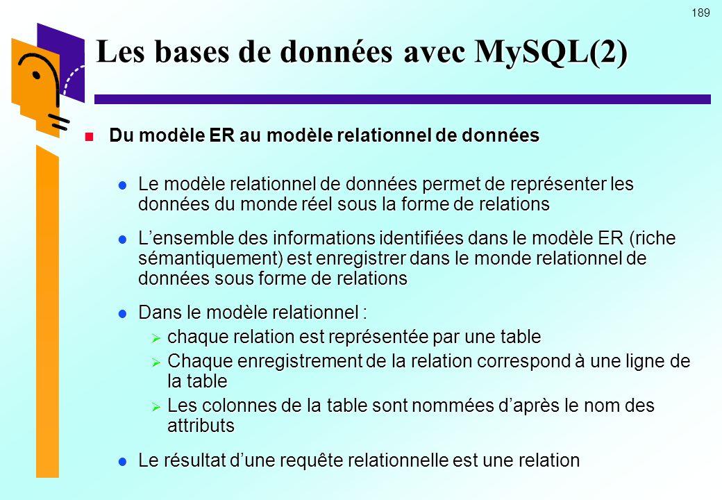 Les bases de données avec MySQL(2)