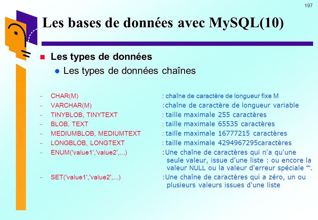 Les bases de données avec MySQL(10)