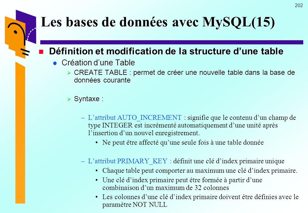 Les bases de données avec MySQL(15)