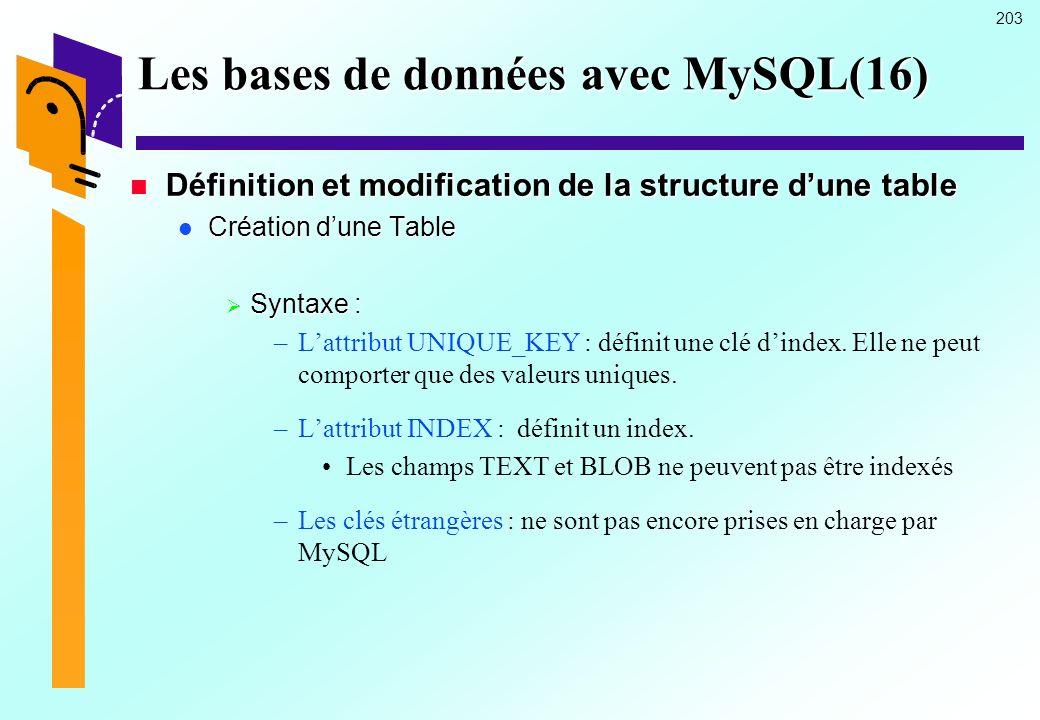 Les bases de données avec MySQL(16)