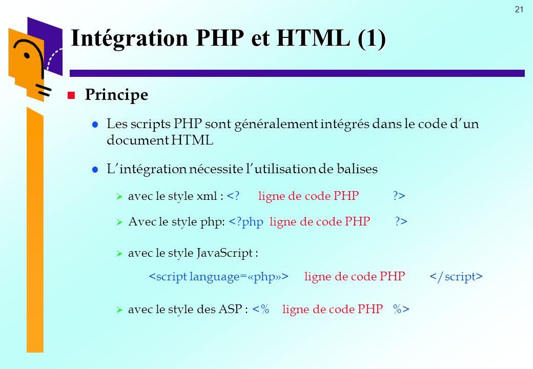 Intégration PHP et HTML (1)