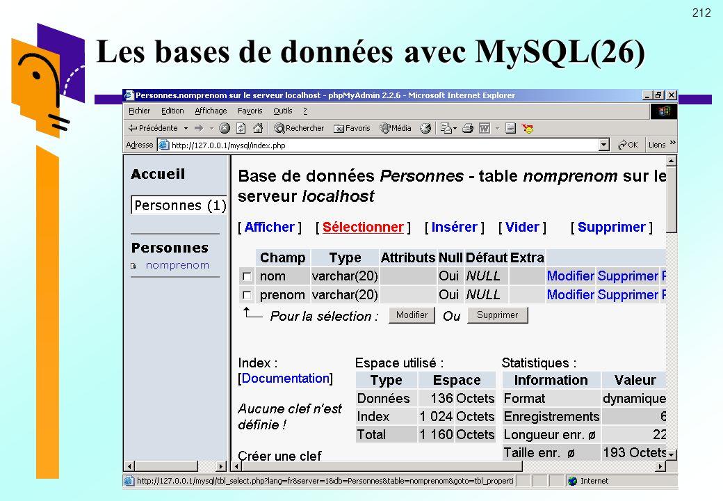 Les bases de données avec MySQL(26)