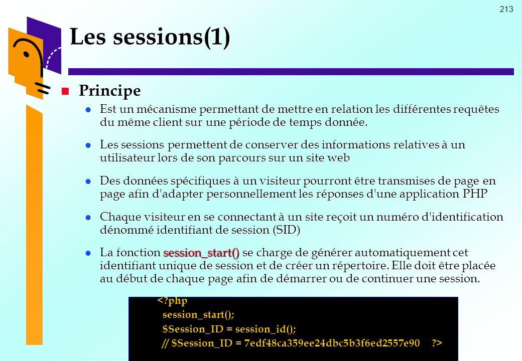 Les sessions(1) Principe