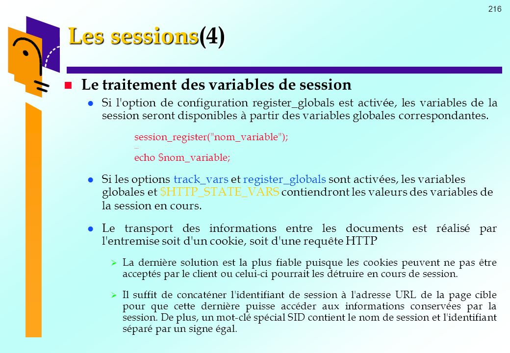 Les sessions(4) Le traitement des variables de session