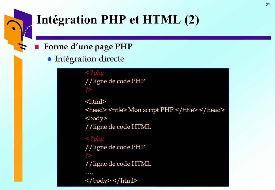 Intégration PHP et HTML (2)