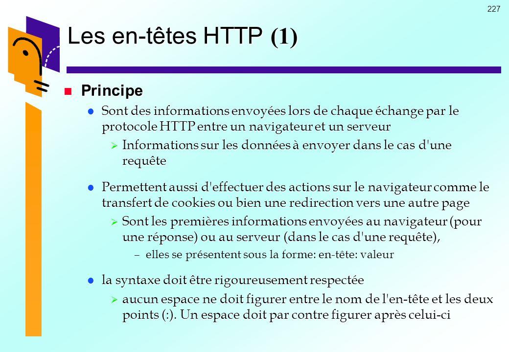 Les en-têtes HTTP (1) Principe