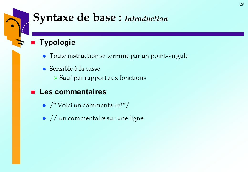 Syntaxe de base : Introduction