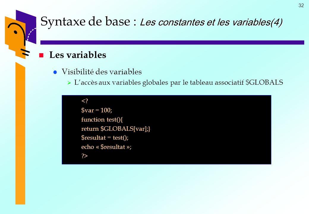 Syntaxe de base : Les constantes et les variables(4)