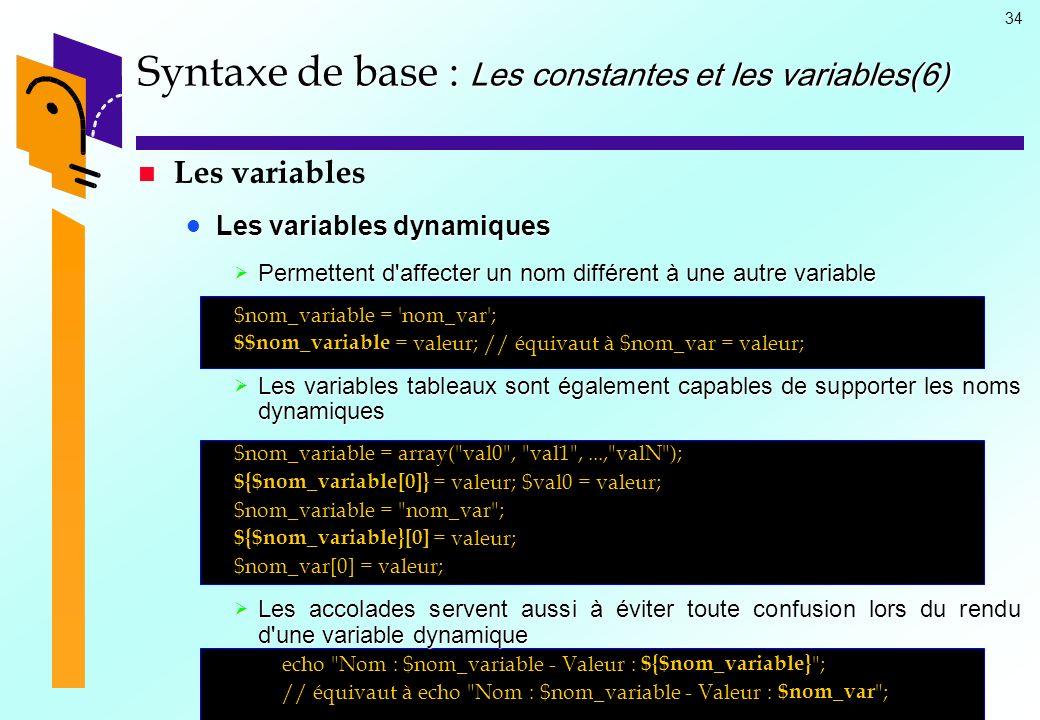 Syntaxe de base : Les constantes et les variables(6)