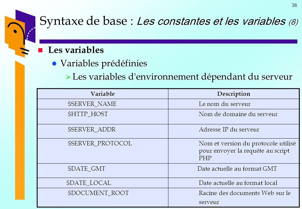 Syntaxe de base : Les constantes et les variables (8)