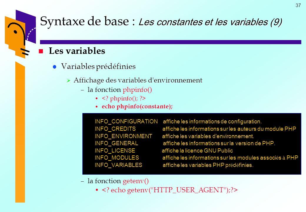 Syntaxe de base : Les constantes et les variables (9)