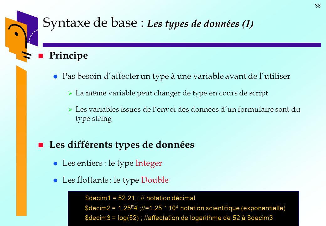Syntaxe de base : Les types de données (1)