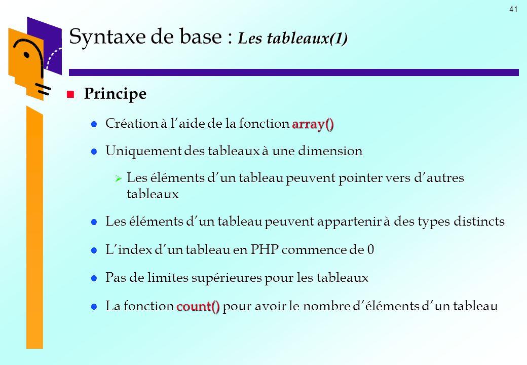 Syntaxe de base : Les tableaux(1)