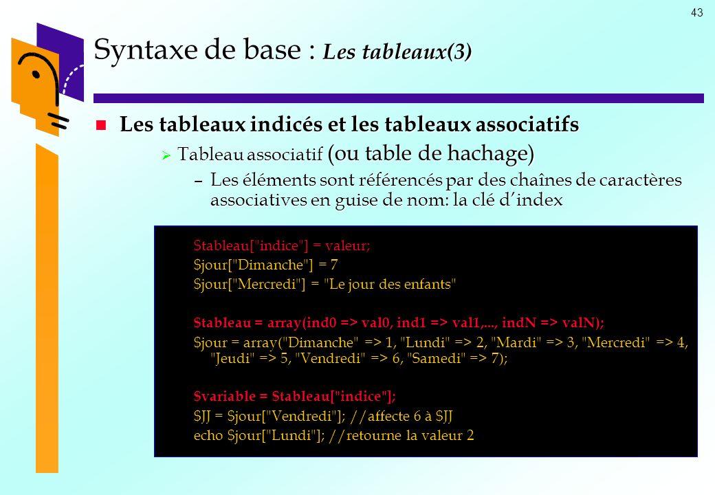 Syntaxe de base : Les tableaux(3)