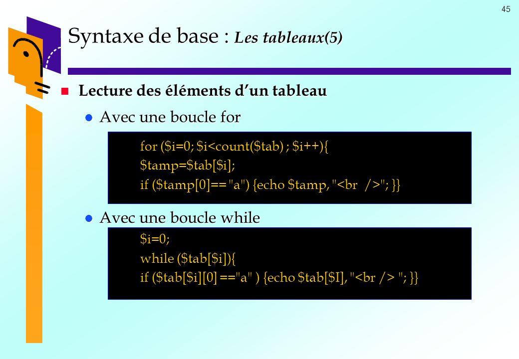 Syntaxe de base : Les tableaux(5)