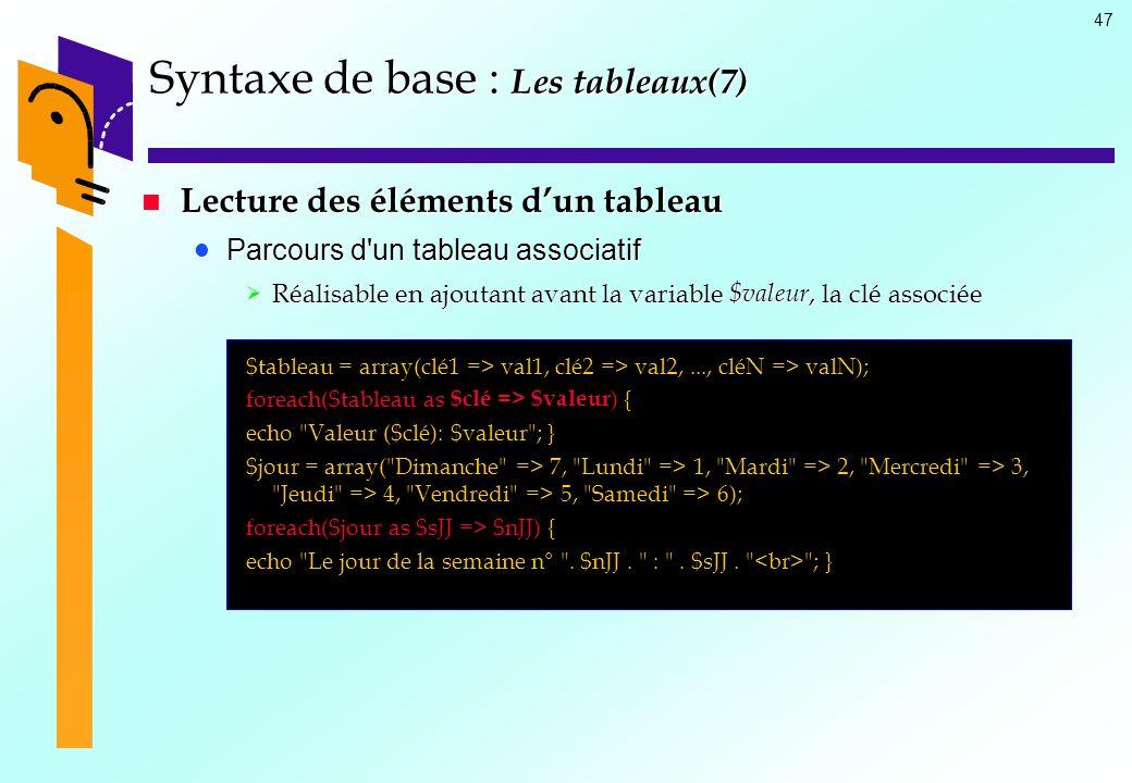 Syntaxe de base : Les tableaux(7)