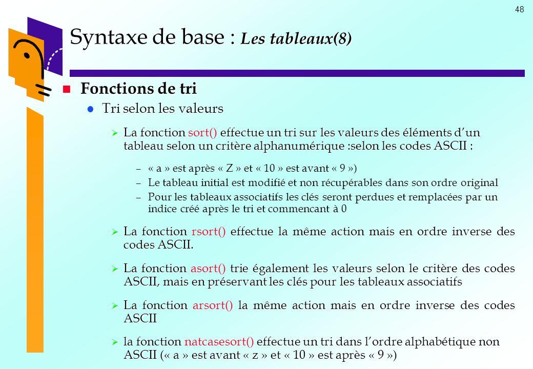 Syntaxe de base : Les tableaux(8)