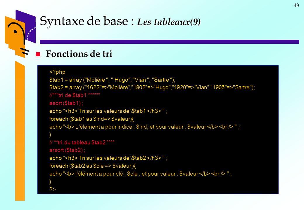 Syntaxe de base : Les tableaux(9)